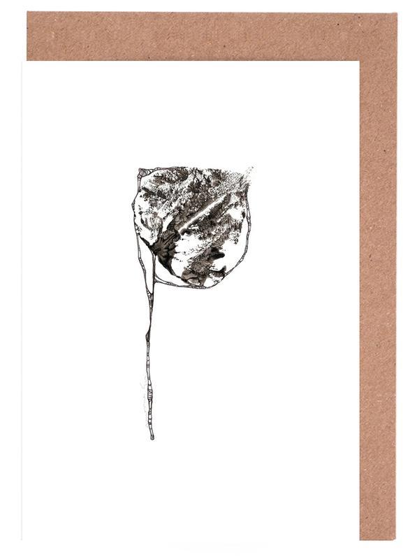 Alphabet & Buchstaben, Blätter & Pflanzen, Schwarz & Weiß, P -Grußkarten-Set