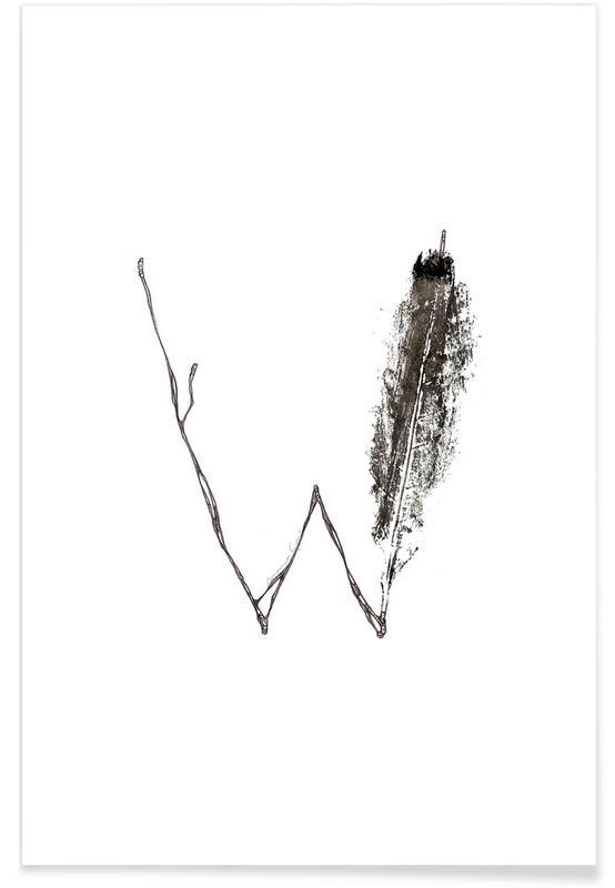 W - Alphabet en feuilles affiche