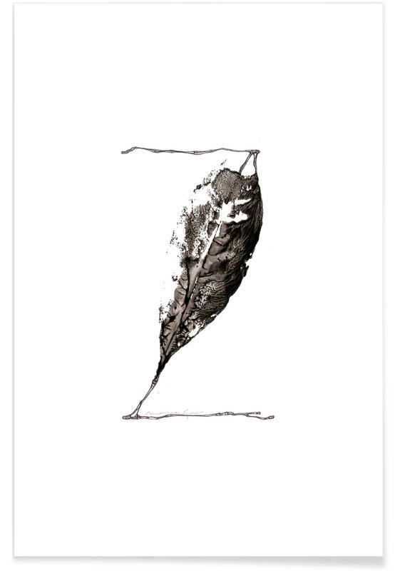 Bladeren en planten, Zwart en wit, Alfabet en letters, Bladeren alfabet letter Z poster