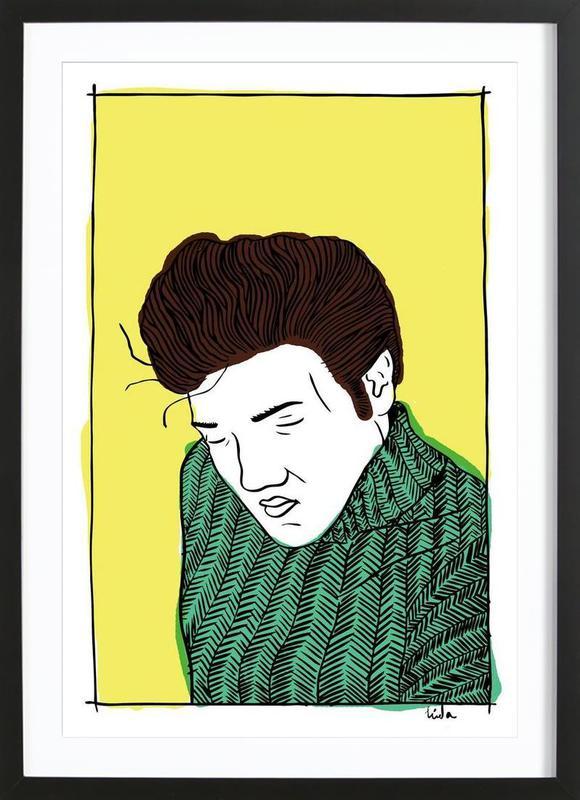 Elvis Yellow ingelijste print