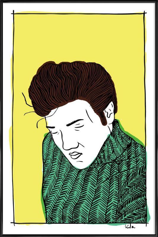 Elvis Yellow ingelijste poster