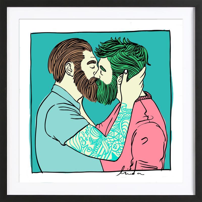 Men Kiss 2 Framed Print