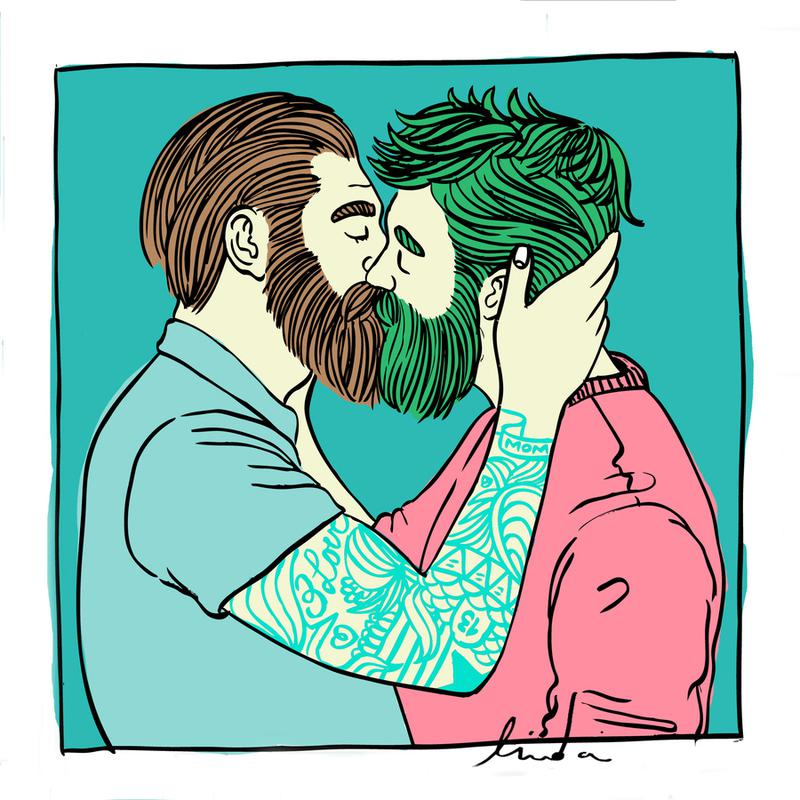 Men Kiss 2 canvas doek