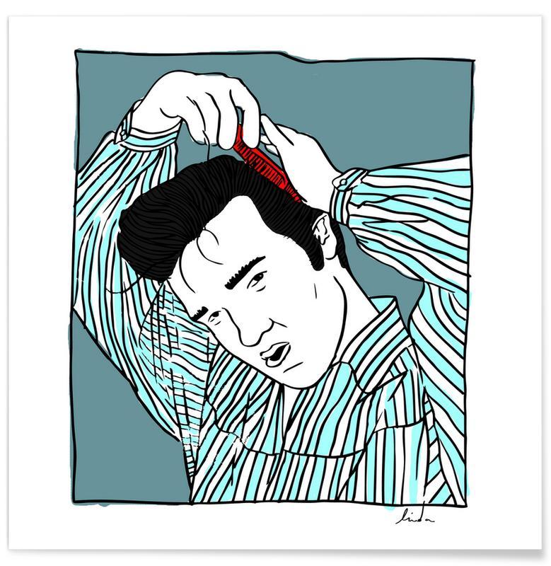 Elvis Blue Poster