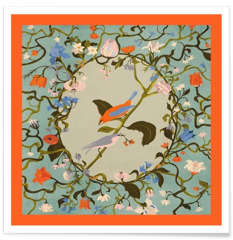 , Birds & Flowers poster