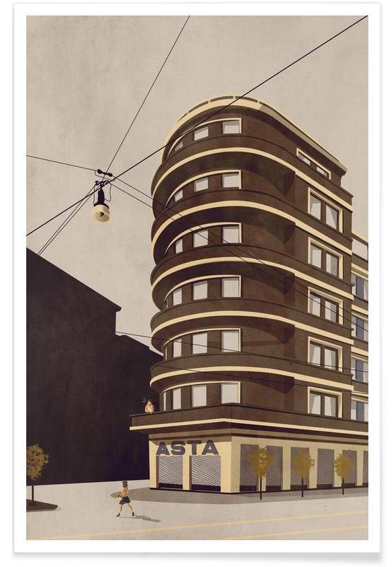 Wolkenkratzer & Hochhäuser, Via Cuneo -Poster