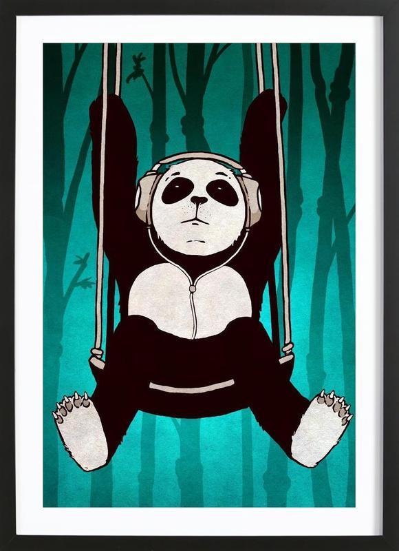 Panda swing ingelijste print