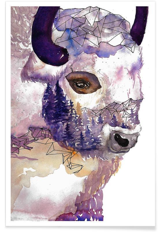 Bison  - Aquarelle affiche