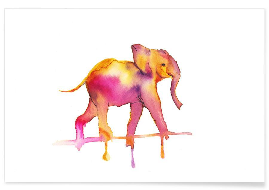 Éléphants, Eléphant - Aquarelle affiche