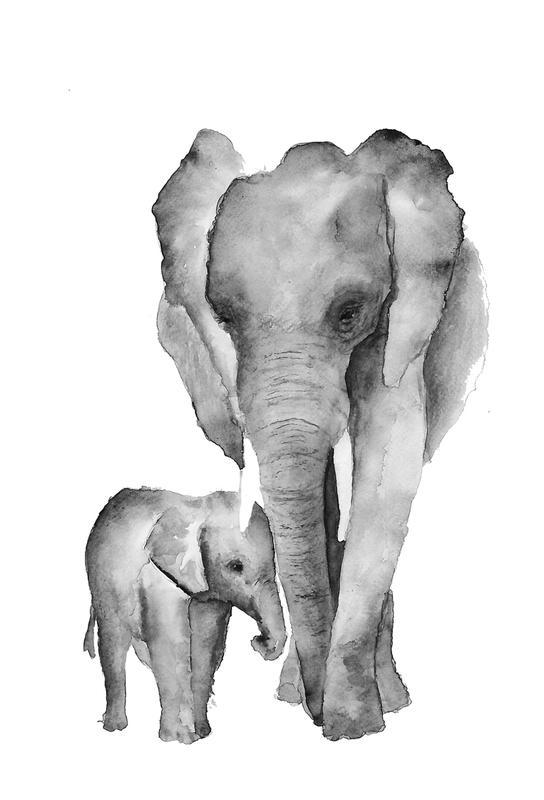 Elephant Mama -Acrylglasbild
