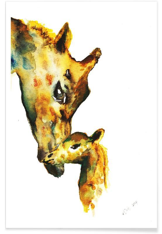 Art pour enfants, Girafes, Girafes - Aquarelle affiche