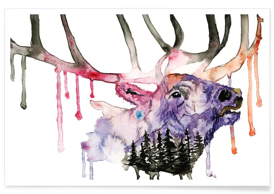 Deer, Deer Watercolour Poster