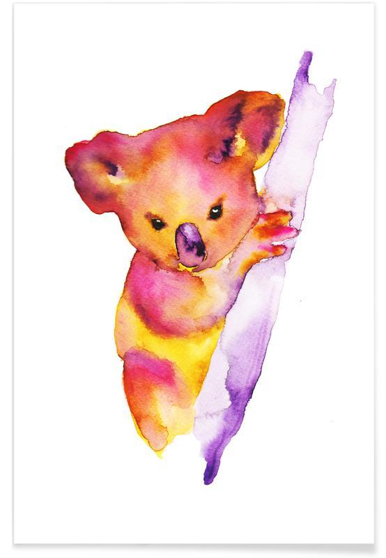 Koalas, Art pour enfants, Koala - Aquarelle affiche