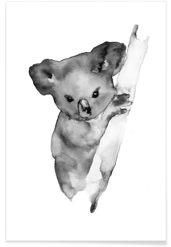 Grauer Koala-Aquarell -Poster