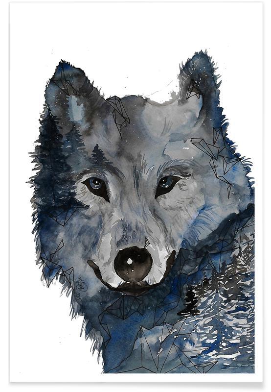 Street Art, Loups, Loup de nuit - Aquarelle affiche