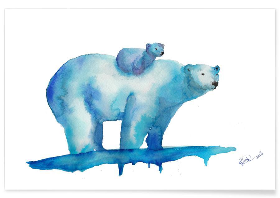 Polar Bears Watercolour Poster
