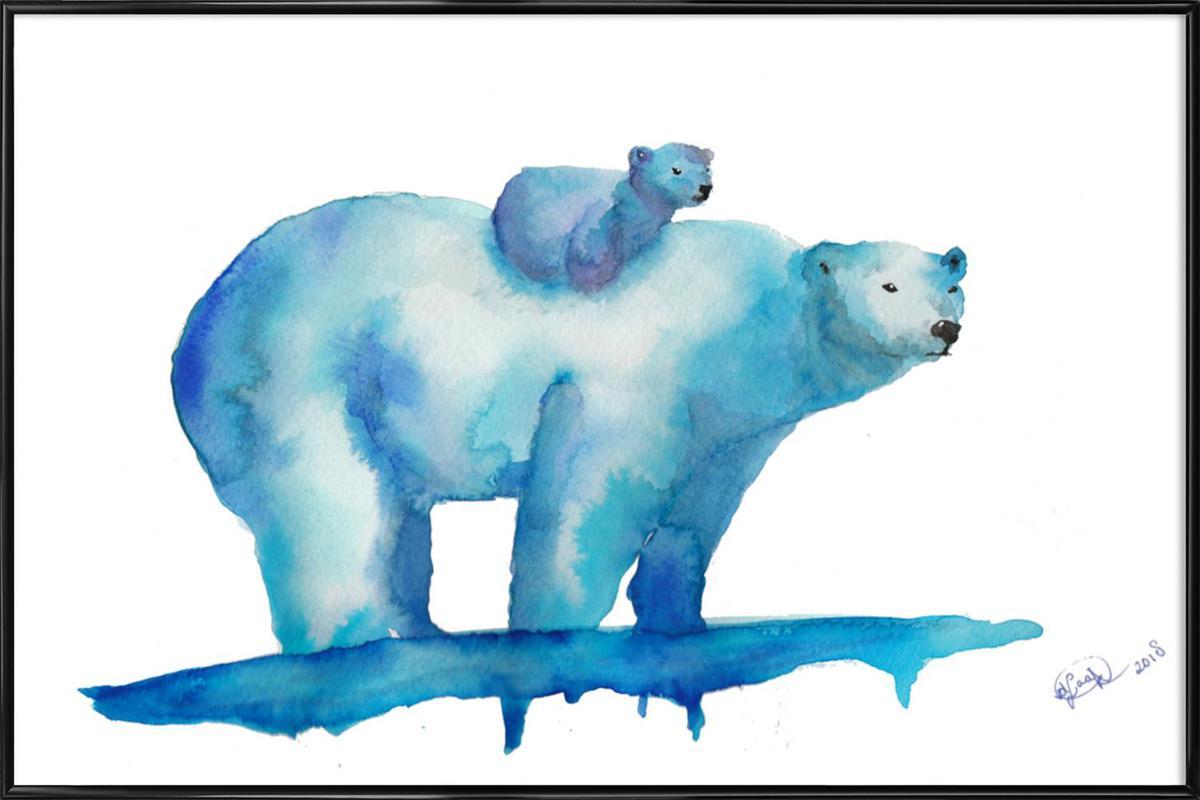 Polar Bears -Bild mit Kunststoffrahmen