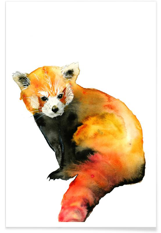 Foxes, Nursery & Art for Kids, Red Panda Watercolour Poster