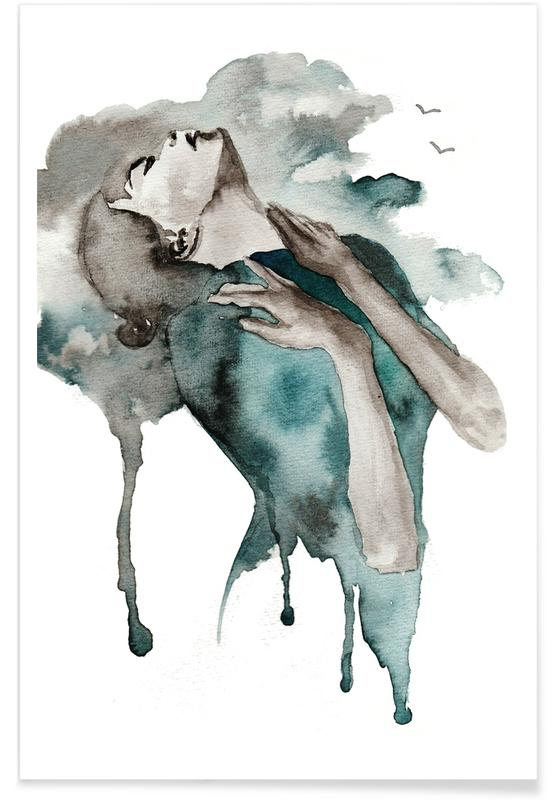 Body Close-Ups, Fashion Illustrations, Storm Clouds Poster