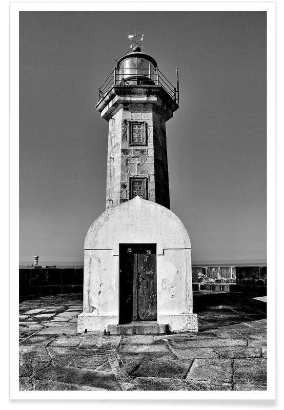 Architekturdetails, Schwarz & Weiß, Porto Lighthouse -Poster
