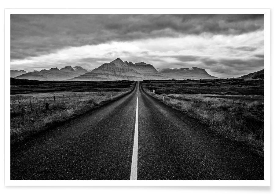 Montagnes, Noir & blanc, Voyages, Endless affiche