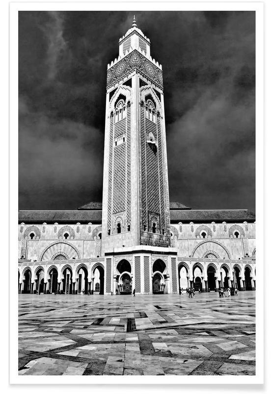 Noir & blanc, Monuments et vues, Hassan II Mosque affiche