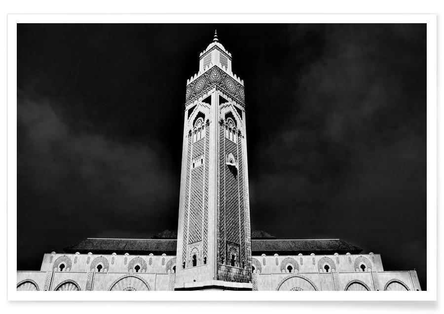 Noir & blanc, Monuments et vues, Hassan II Mosque 2 affiche