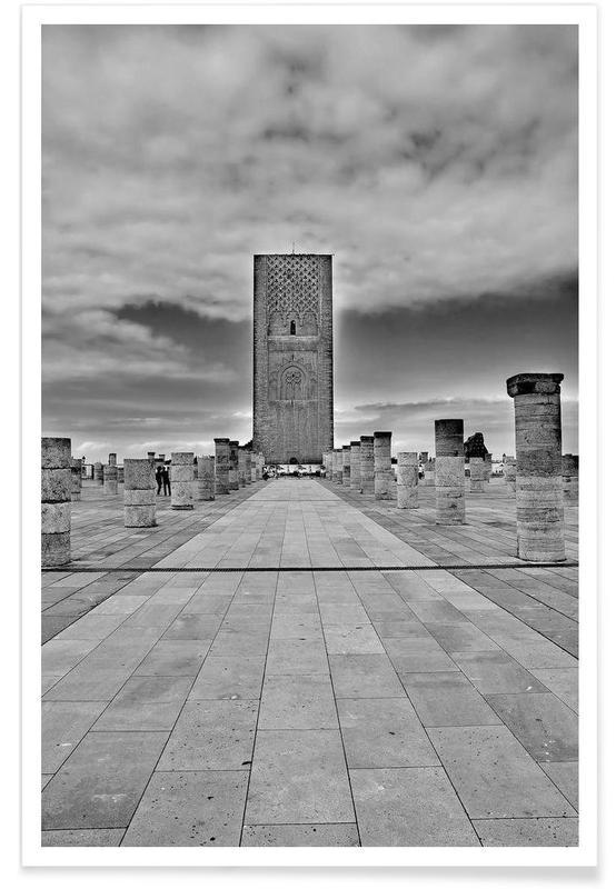 Schwarz & Weiß, Sehenswürdigkeiten & Wahrzeichen, Hassan Tower -Poster