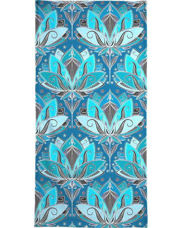 Art Deco Teal Lotus Pattern Bath Towel