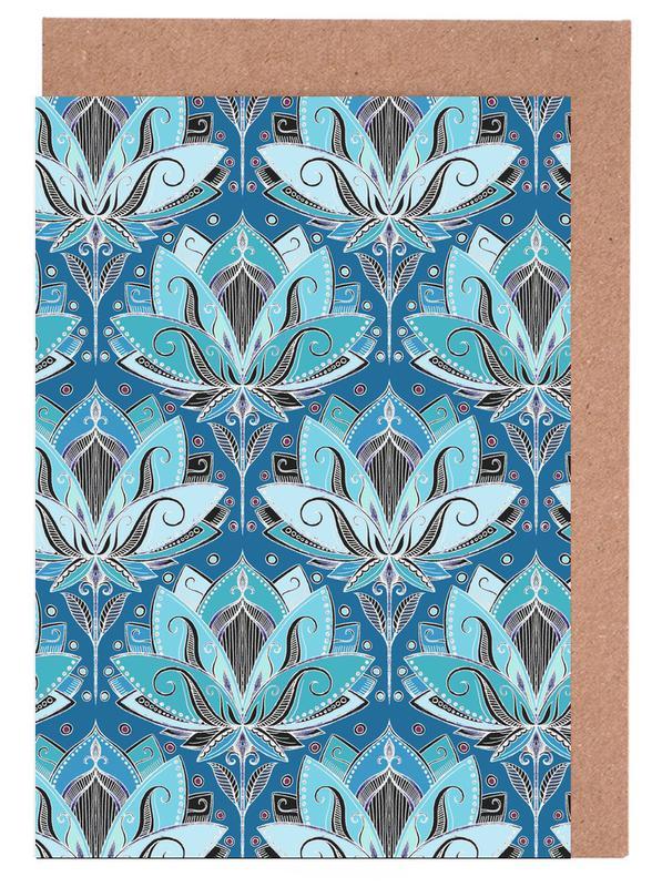 , Art Deco Teal Lotus Pattern Greeting Card Set