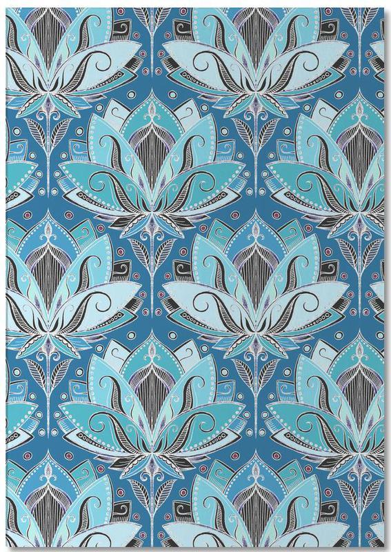 Art Deco Teal Lotus Pattern Notepad