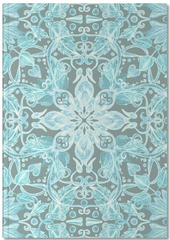 , Soft Blue & Grey Floral Pattern Notebook