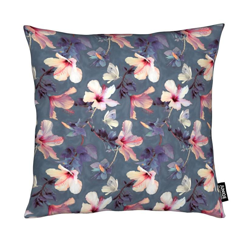 Butterflies & Hibiscus Flowers coussin