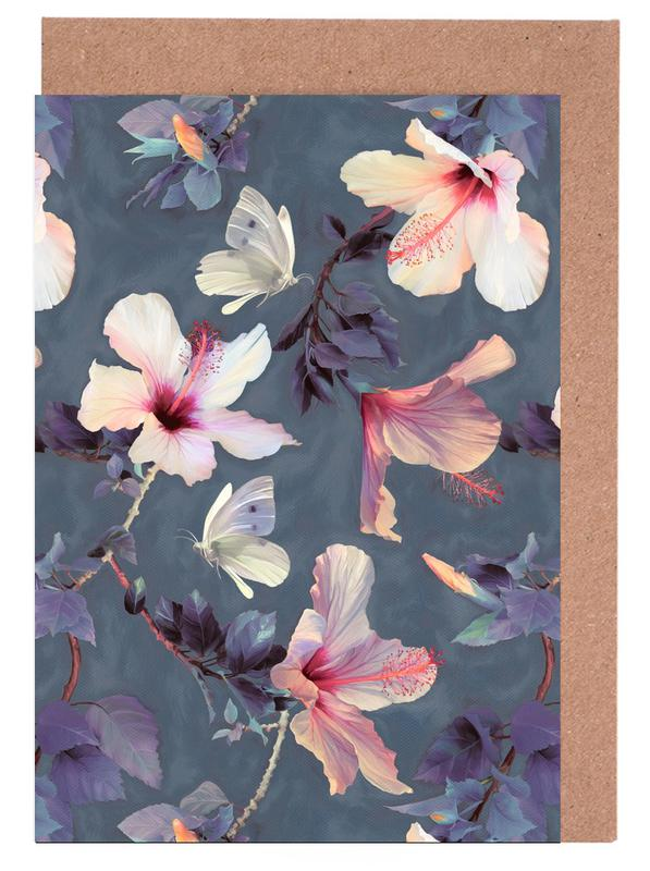 Butterflies & Hibiscus Flowers Greeting Card Set