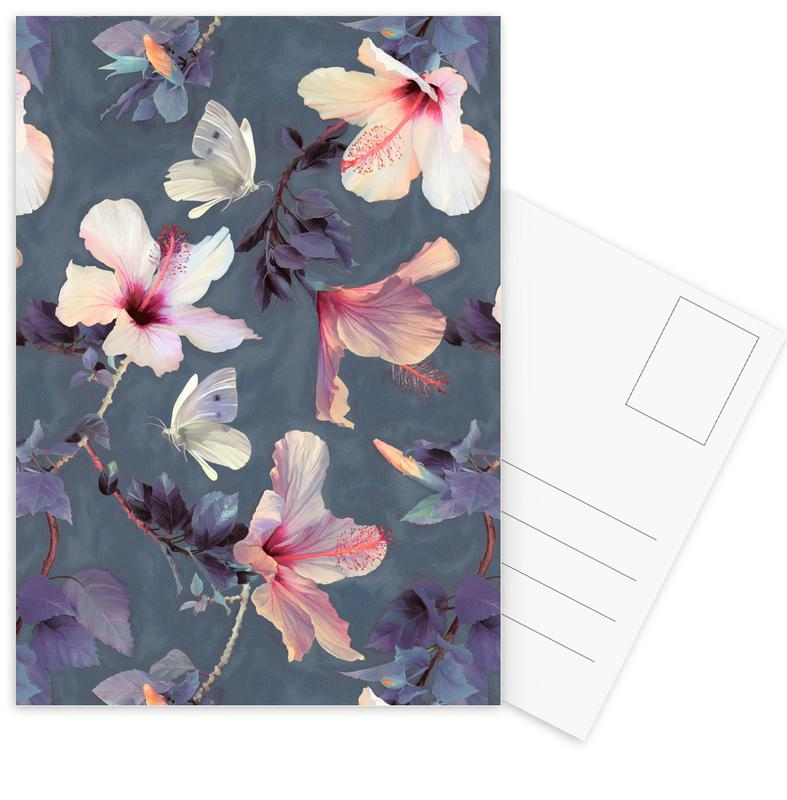 Butterflies & Hibiscus Flowers Postcard Set