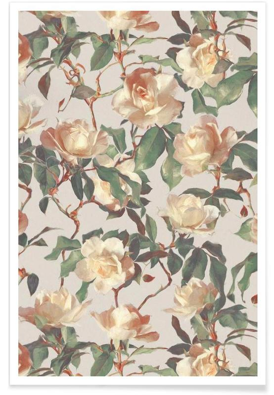 Rozen, Vintage rozen - patroon poster