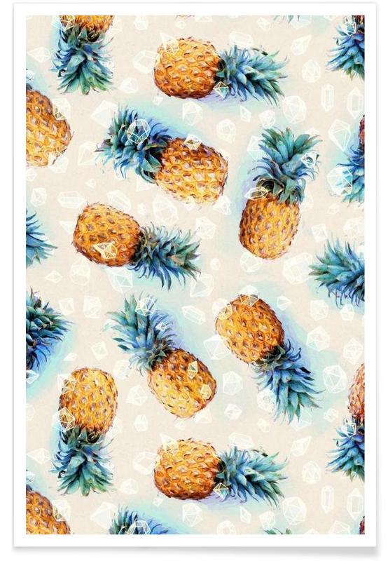 Ananas, Motif ananas et cristaux affiche