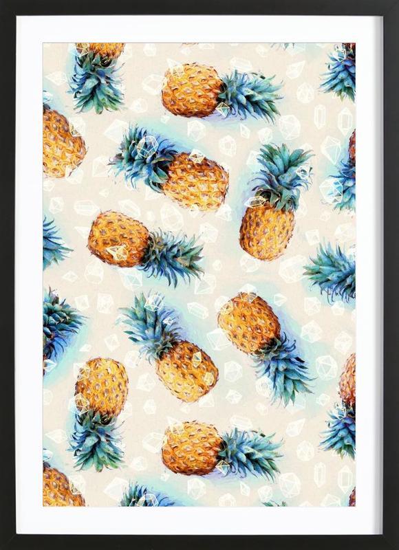Pineapples + Crystals -Bild mit Holzrahmen