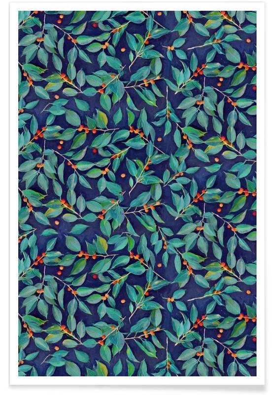Motif feuilles et baies sur fond bleu affiche