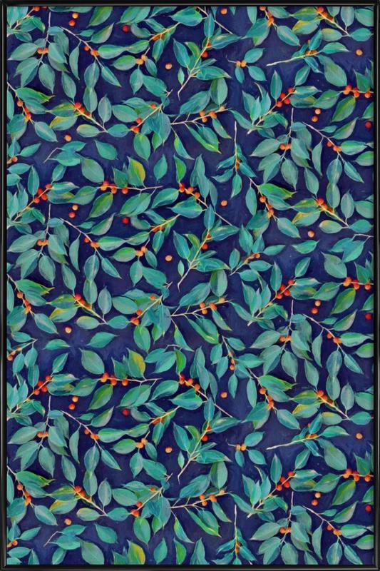 Leaves & Berries on Blue Framed Poster