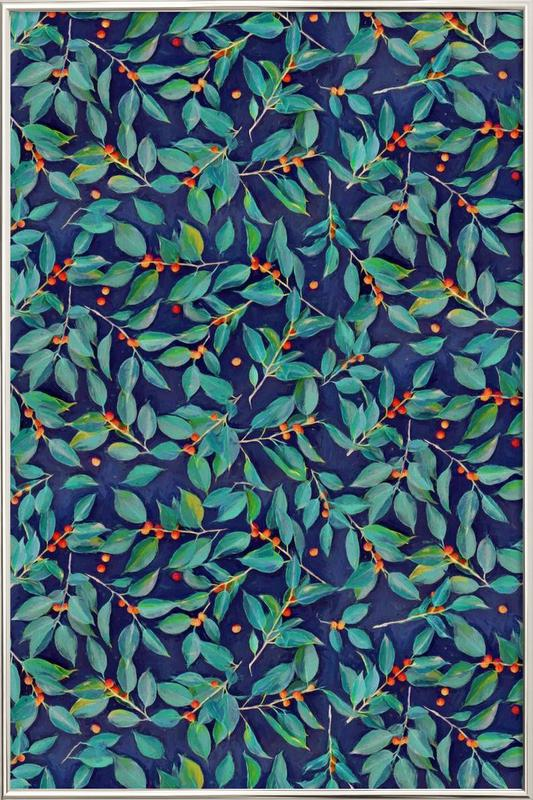 Leaves & Berries on Blue affiche sous cadre en aluminium