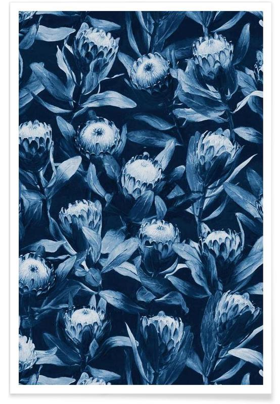 , Evening Proteas Blue Pattern Poster
