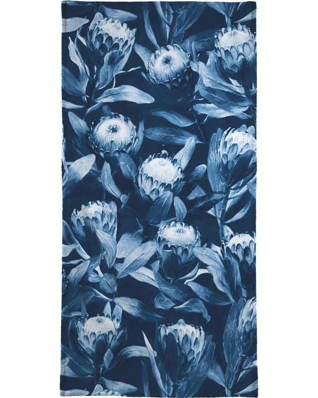 , Evening Proteas - Denim Blue Bath Towel