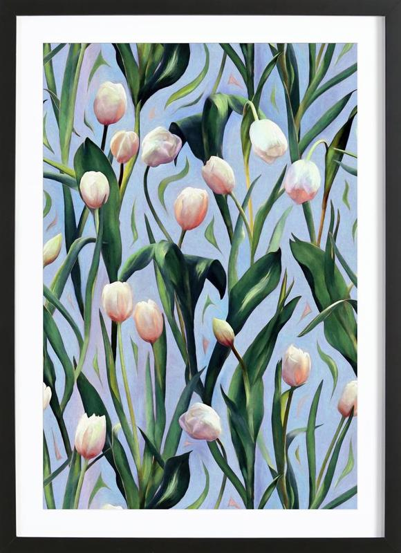 Waiting On The Blooming – Tulip Pattern Framed Print