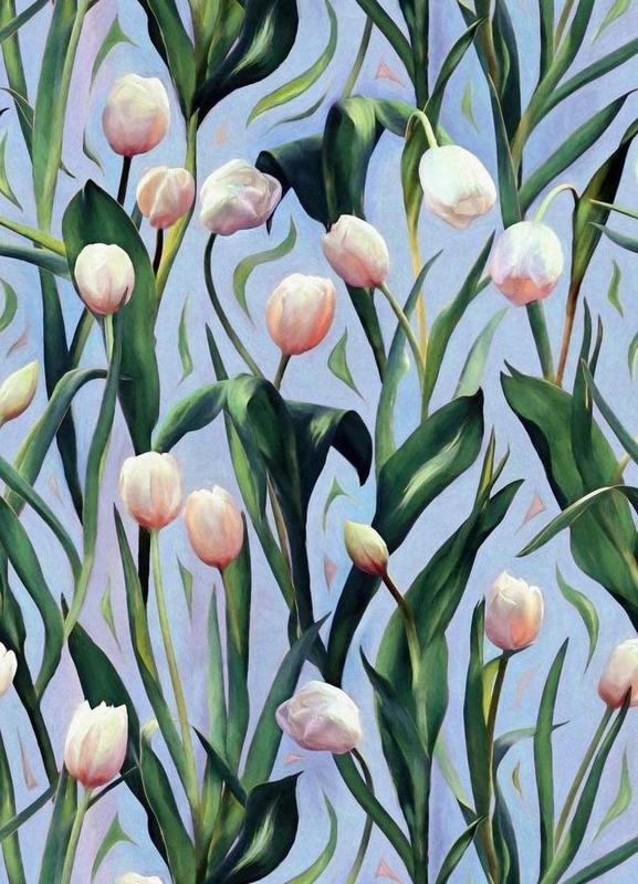 Waiting On The Blooming – Tulip Pattern Canvas Print