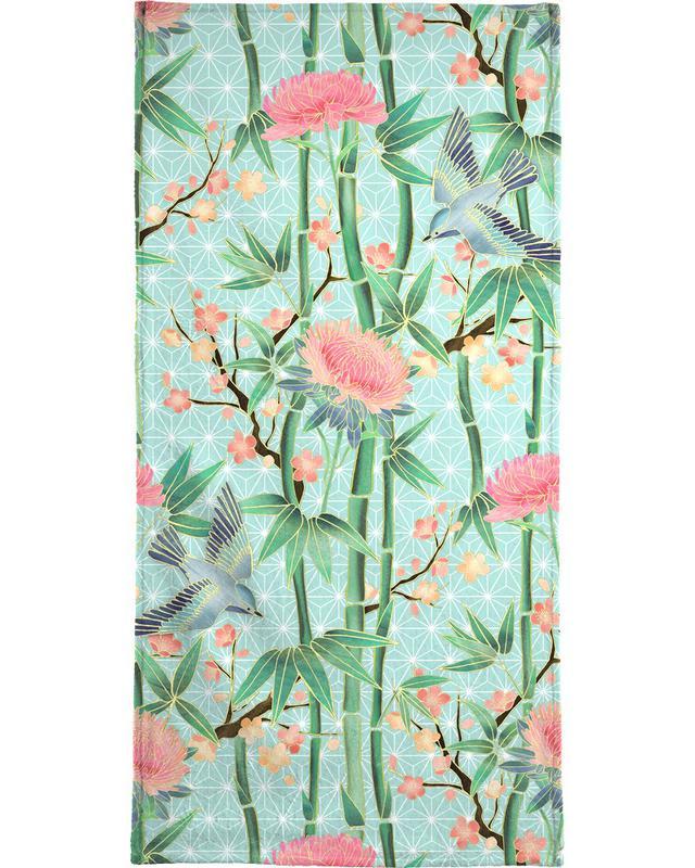, Bamboo Birds and Blossom Mint Beach Towel