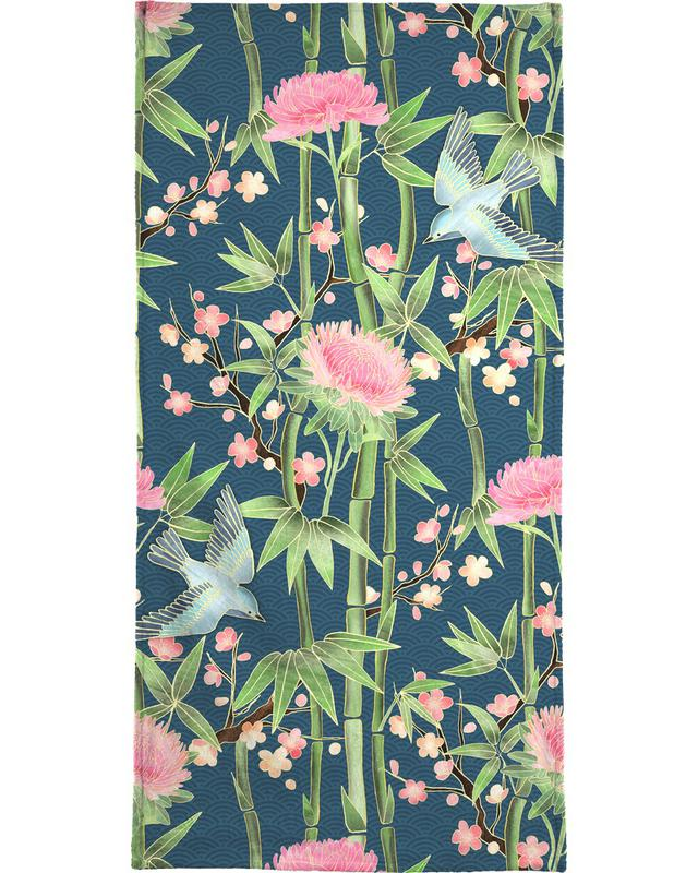 , Bamboo Birds and Blossom Teal Bath Towel
