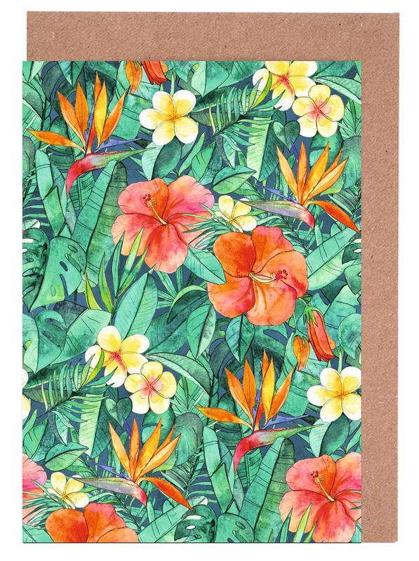 , Classic Tropical Garden Greeting Card Set