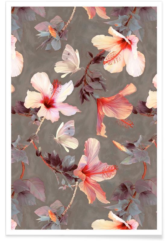 , Koraal hibiscus - patroon poster