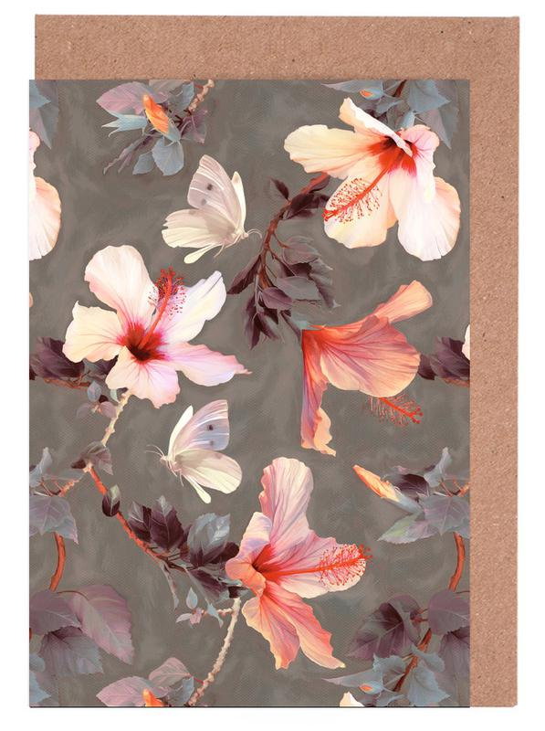 Coral Hibiscus Greeting Card Set
